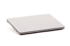 γκρίζο λευκό lap-top ανασκόπησ&e Στοκ Εικόνα