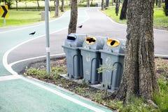 Γκρίζο πλαστικό εμπορευματοκιβώτιο ανακύκλωσης δοχείων απορριμμάτων στο πάρκο στοκ εικόνα με δικαίωμα ελεύθερης χρήσης