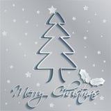 Γκρίζο υπόβαθρο δέντρων Χαρούμενα Χριστούγεννας Στοκ φωτογραφία με δικαίωμα ελεύθερης χρήσης