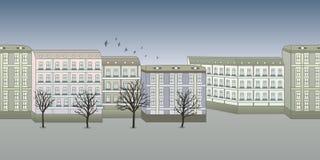 Γκρίζο υπόβαθρο πόλεων φθινοπώρου Επίπεδη διανυσματική απεικόνιση γραμμών οριζόντιος Διανυσματική απεικόνιση