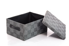 Γκρίζο υφαντικό κιβώτιο στο άσπρο υπόβαθρο Στοκ Εικόνες