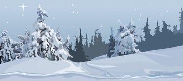Γκρίζο χειμερινό δάσος κινούμενων σχεδίων των χιονισμένων δέντρων στο χιόνι Στοκ Φωτογραφία