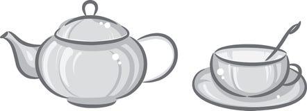 γκρίζο teapot φλυτζανιών διανυσματική απεικόνιση