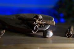 Γλυκάνισο και κανέλα αστεριών σε ένα ξύλινο κουτάλι συγκρατημένο Στοκ φωτογραφία με δικαίωμα ελεύθερης χρήσης