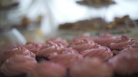 Γλυκά κέικ από το φραγμό γαμήλιων καραμελών απόθεμα βίντεο