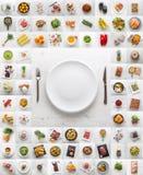 Γλυκά και παχιά γεύματα καφέ ψαριών κρέατος φρούτων Assotment φυτικά στοκ εικόνες