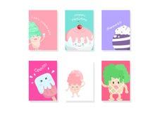 Γλυκά κινούμενα σχέδια επιδορπίων, χαιρετισμός, κάλυψη, πρότυπο, κάρτα διανυσματική απεικόνιση