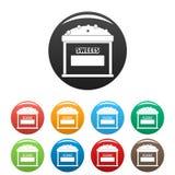 Γλυκά που πωλούν τα εικονίδια καθορισμένα το διάνυσμα χρώματος Στοκ εικόνα με δικαίωμα ελεύθερης χρήσης
