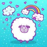 Γλυκά πρόβατα σε ένα μπλε υπόβαθρο με τα σύννεφα και τις καρδιές Στοκ Φωτογραφία