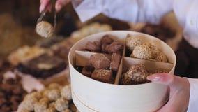 Γλυκά σοκολάτας στην κινηματογράφηση σε πρώτο πλάνο καταστημάτων βιομηχανιών ζαχαρωδών προϊόντων φιλμ μικρού μήκους