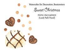 Γλυκά σύντομα χρονογραφήματα με τις σοκολάτες και τα χρυσά σημεία απεικόνιση αποθεμάτων