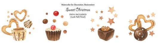 Γλυκά σύντομα χρονογραφήματα με τις σοκολάτες και τα χρυσά σημεία ελεύθερη απεικόνιση δικαιώματος
