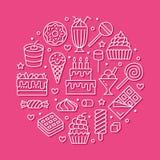 Γλυκά τρόφιμα γύρω από την αφίσα με τα επίπεδα εικονίδια γραμμών Διανυσματικές απεικονίσεις ζύμης - lollipop, φραγμός σοκολάτας,  απεικόνιση αποθεμάτων
