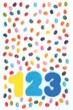Γλυκά φασολιών ζελατίνας και 123 ψηφία στοκ εικόνες με δικαίωμα ελεύθερης χρήσης