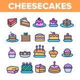 Γλυκά Cheesecakes, γραμμικά διανυσματικά εικονίδια αρτοποιείων καθορισμένα διανυσματική απεικόνιση