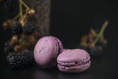Γλυκά macaroons με τα βατόμουρα στο μαύρο bacground Στοκ Εικόνα