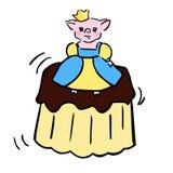 Γλυκές διανυσματικές piggy ντυμένες με κοστούμι πριγκήπισσα και ζελατίνα διανυσματική απεικόνιση