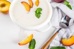 Γλυκιά κρεμώδης σούπα ροδάκινων στοκ φωτογραφία με δικαίωμα ελεύθερης χρήσης