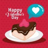 Γλυκιά μερίδα κέικ με την αγάπη καρδιών ελεύθερη απεικόνιση δικαιώματος
