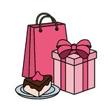 Γλυκιά μερίδα κέικ με το δώρο και την τσάντα αγορών ελεύθερη απεικόνιση δικαιώματος