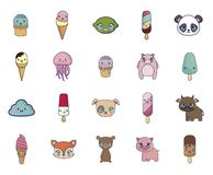 Γλυκοί και λατρευτοί καθορισμένοι χαρακτήρες kawaii απεικόνιση αποθεμάτων