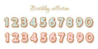 Γλυκοί συρμένοι χέρι αριθμοί που τίθενται για τα γενέθλια ή το σχέδιο ντους μωρών Μπισκότο που βερνικώνεται με τη ρόδινη και μπλε Απεικόνιση αποθεμάτων