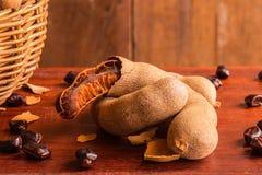 Γλυκοί ώριμοι tamarind και σπόροι Στοκ εικόνα με δικαίωμα ελεύθερης χρήσης