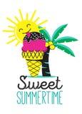 Γλυκός θερινός χρόνος με το παγωτό διανυσματική απεικόνιση