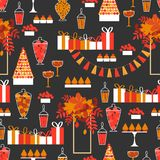 Γλυκός πίνακας φθινοπώρου άνευ ραφής διάνυσμα προτύπων απεικόνιση αποθεμάτων