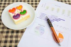 Γλυκός χρόνος κέικ και εργασίας Στοκ Φωτογραφίες