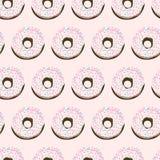 Γλυκό άνευ ραφής σχέδιο θερινών αναδρομικό donuts Στοκ εικόνες με δικαίωμα ελεύθερης χρήσης