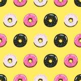 Γλυκό άνευ ραφής σχέδιο θερινών αναδρομικό donuts Στοκ φωτογραφία με δικαίωμα ελεύθερης χρήσης