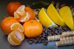 Γλυκό επιδόρπιο με τα φρούτα και τα μπισκότα, φασόλια καφέ στοκ εικόνα