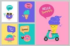 Γλυκό καλοκαίρι - το χαριτωμένοι παγωτό, το καρπούζι και donuts οι χαρακτήρες κάνουν τη διασκέδαση ελεύθερη απεικόνιση δικαιώματος