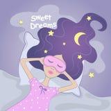 Γλυκό κορίτσι ονείρου επίσης corel σύρετε το διάνυσμα απεικόνισης goodnight Στοκ εικόνες με δικαίωμα ελεύθερης χρήσης