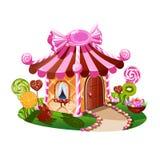 Γλυκό λίγο σπίτι με τη σοκολάτα και διακοσμημένος με την καραμέλα απεικόνιση αποθεμάτων