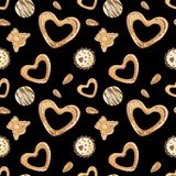 Γλυκό νέο σχέδιο έτους με τις σοκολάτες και τα μπισκότα ελεύθερη απεικόνιση δικαιώματος