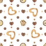 Γλυκό ρομαντικό σχέδιο με τις σοκολάτες και τα μελοψώματα διανυσματική απεικόνιση