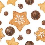 Γλυκό σχέδιο Χριστουγέννων με τις σοκολάτες και τα μελοψώματα απεικόνιση αποθεμάτων