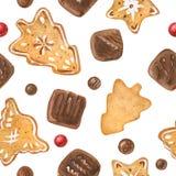 Γλυκό σχέδιο Χριστουγέννων με τις σοκολάτες και τα μπισκότα ελεύθερη απεικόνιση δικαιώματος