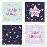 Γλυκό χαριτωμένο σχέδιο ονείρων για τις πυτζάμες, πιτζάματα, μπλούζες Οι επιστολές και τα αστέρια κινούμενων σχεδίων στα χρώματα  διανυσματική απεικόνιση