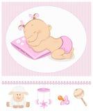 γλυκό ύπνου κοριτσιών άφιξης ανακοίνωσης διανυσματική απεικόνιση