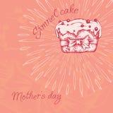Γλυκό cupcake με την κρέμα Σύνολο από τη διανυσματική εκλεκτής ποιότητας επιγραφή καρτών σύρετε το έγγραφο χεριών watercolours Διανυσματική απεικόνιση