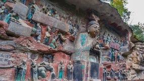 Γλυπτικές βράχου Chongqing Dazu της Κίνας, στοκ εικόνες