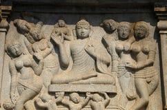 Γλυπτικές στο άγαλμα του Βούδα, Hussain Sagar Lake, Hyderabad, Telangana στοκ φωτογραφίες