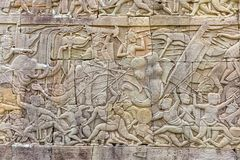 Γλυπτικές τοίχων ναών Bayon σε Angkor Thom στην Καμπότζη Στοκ φωτογραφία με δικαίωμα ελεύθερης χρήσης
