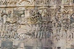 Γλυπτικές τοίχων ναών Bayon σε Angkor Thom στην Καμπότζη Στοκ Εικόνα