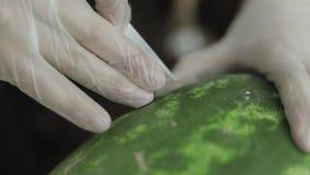 Γλυπτική φρούτων, διακοσμήσεις από τα φρούτα, που χαράζονται απόθεμα βίντεο