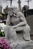 Γλυπτό του Ιησού στο νεκροταφείο Στοκ Φωτογραφία