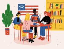 Γλωσσικό σχολείο Αγγλικό μάθημα Ομάδα ανθρώπων στην τάξη που μελετά, εκμάθηση απεικόνιση αποθεμάτων
